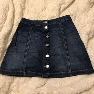 Button down denim miniskirt